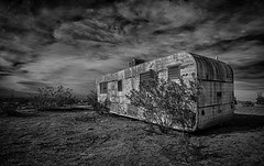 Trailer Parked (Jeff Powers) Tags: california bw abandoned trailer ridgecrest