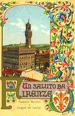un saluto da Firenze (CardCollector & HobbyPhotographer) Tags: italy postcard firenze toscana florenz palazzovecchio lithographie topographie