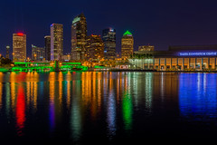 St Patrick's Day Tampa Skyline Reflection Wide (Photomatt28) Tags: reflection skyline tampa effects florida beercan stpatricksday hillsboroughriver tampaconventioncenter sykesbuilding eventsholidays plattstreetbridge rivergatebuilding