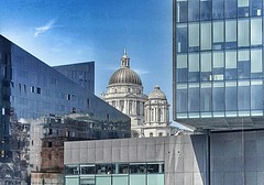 Something old, something new, something borrowed, something blue (kriswoods2322) Tags: city reflection museum modern liverpool bluesky oldbuildings dome capitalcity