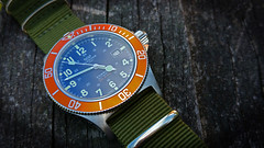 Glycine Combat Sub Orange (petit_joe) Tags: orange army sub combat nato glycine bluedial