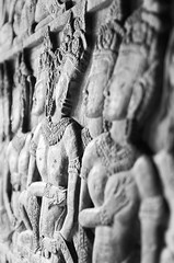 Stone stories (SteTre.) Tags: bw statue stone asia cambodia dof relief kh siemreap angkor wat krongsiemreap
