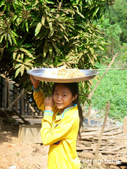 Girl carrying a tray of food - Rural Village Cambodia (WanderingPhotosPJB) Tags: food colour girl yellow rural cambodia village head tray img carry