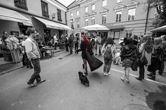 The Lady With The Dog (wampyras84) Tags: life street red people bw woman dog black girl rock lady hair nikon pretty view gothic wide onecolor oldtown lithuania vilnius streetview bix d610 1116 tokina1116 got