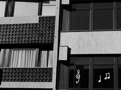 An unusual part of Castle District, Buda [explored] (un2112) Tags: budacastle castledistrict budapest blackandwhite bw monochrome urban trebleclef windows july panasonicg7 explored