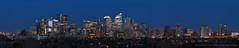 Calgary Skyline (Witty nickname) Tags: city blue urban panorama calgary glass buildings concrete corporate twilight downtown dusk steel pano panoramic condos cityskyline thebluehour calgaryskyline calgarypanorama torontocrescent