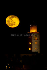 Orange Moon over Mosque (Dave G Kelly) Tags: travel orange moon night holidays atmosphere mosque fullmoon morocco marrakech marrakesh lunar orangemoon