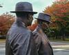 Gorton and Chifley statues (i-lenticularis) Tags: autumn australia canberra act slidescan velvia50 mediumformatfilm p645n epsonv700scan manilovefilm fujivelviarvp50120 curtinchifley pentaxp645n