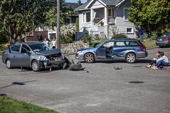 42nd_Brandon_Accident-4 (Pye42) Tags: seattle car washington nissan accident subaru westseattle vehicle outback intersection versa stationwagon residentialstreet