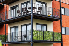 balconies (Katrinitsa) Tags: street city uk greatbritain bridge england plants streets green water colors architecture floors canon river walking manchester living spring cityscape riverside chairs unitedkingdom britain streetphotography bbq balconies waters british balcon castlefield