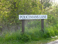 Policemans Lane 126/366 (dawn.v) Tags: uk england streetsign may dorset roadside poole upton 2016 lumixtz25 policemanslane 366daysin2016 policeandcrimecommissionerselection