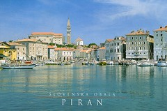 Viev towards Tartini Square and the parish church of st. George, Piran, Istra, Slovenia (caijsa's postcards) Tags: water boats ships slovenia piran istra