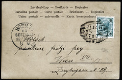 """Archiv E654 """"Frhliche Weihnachten"""" (back), Wien, Poststempel vom 22. Dezember 1901 (Hans-Michael Tappen) Tags: wien stamps weihnachtskarte 1900s 1901 briefmarke poststempel weihnachtsgrse 1900er archivhansmichaeltappen"""