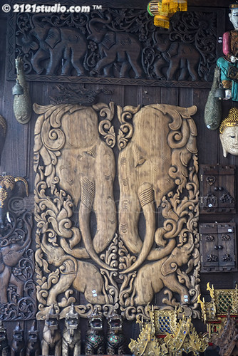 Wood Carving with elephant motif