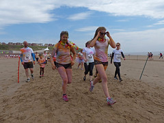 Rainbow Run (Andy WXx2009) Tags: charity girls people man sexy beach beauty sunglasses wales outdoors coast sand women europe legs candid femme shoreline streetphotography style running resort shorts athletes barryisland rainbowrun