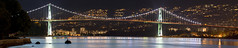 Lions Gate panorama 2016 (Gord McKenna) Tags: gordmckenna gord mckenna long exposure lions gate bridge vancouver bc british columbia canada skyline city night lights water blue light sky mountain west burrard inlet pacific ocean seawall n124639 pano panorama stitch microsoft ice mermaid smooth