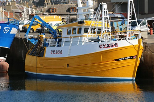 22nd April 2016. Fresh from the Yard. New Dawn CY254 in Macduff Harbour, Banffshire, Scotland.