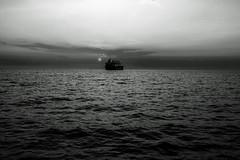 Daybreak....... (Dafydd Penguin) Tags: scotland sea water clouds sun day break sunrise silhouette ship vessel dawn blackandwhite blackwhite black white monochrome bw coast coating coasting coastal nikon d600 nikkor 35mm af f2d