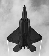 F-22 Raptor (StevePilbrow) Tags: lockheed martin f22 raptor fighter jet black white over head trails aircraft fast twin engine usaf united states airforce july 2016 nikon d7200 nikkor riat2016 royalinternationalairtattoo fairford 70300mm