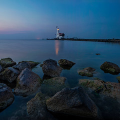 Marken Lighthouse (Martin W. Jensen) Tags: marken lighthouse bluehour holland rocks