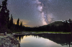 Night Sky from the Alpine Lakes Wilderness (Xuberant Noodle) Tags: star stars night milky way long exposure tent camp camping panorama