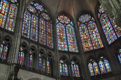 Great stained-glass windows at the apse and north side of the choir of the Gothic Cathedral of Saint Peter and Saint Paul, Troyes, France, XIII century (mike catalonian) Tags: troyes cathedral xviicentury xiicentury xiiicentury medieval middleage gothic france apse stainedglass