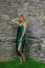 T and S (Vanessa Vokey) Tags: model beauty bff best friends models silk dress slip 90s chhoker trees red head bangs ombre green eyes contour makeup sunset sunshine yellow brick wall antique vintage rustic fairytale castle maiden beautiful pose gorgeous sey bare feet hair style