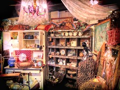 The Market Corner (clarkcg photography) Tags: flickrfriday market shop antique knickknack corner store cupboard light curtain lace drape cage leopardprint chandelier antiques junk bargain marketprice hattieshouseandvintagemarket muskogee oklahoma