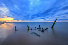 Longniddry Shipwreck (MilesGrayPhotography (AnimalsBeforeHumans)) Tags: britain beach canon 6d canon6d 1635 canonef1635mmf4lisusm dusk edinburgh eos ef europe evening eastlothian f4l firthofforth glow uk sky landscape longexposure longniddry longniddrybeach nd nd1000 nightscape 10stopper outdoors ocean photography reflections scotland sunset scenic ship shipwreck sea seascape twilight waterscape wide