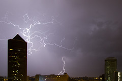 Thunderstorm in Lyon 2 (cypriencharra) Tags: thunder storm sthunderstorm night clair lyon city downtown sky thunderstorm light weather summer europe france