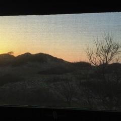 Sunrise in the Provinceland dunes (Chris Seufert) Tags: window square provincetown capecod dunes squareformat duneshack iphoneography instagramapp uploaded:by=instagram provincelknds