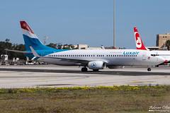 Luxair --- Boeing 737-800 --- LX-LGU (Drinu C) Tags: plane aircraft aviation sony boeing dsc 737 mla luxair 737800 lxlgu lmml hx100v adrianciliaphotography