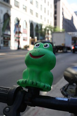 Along For The Ride (Flint Foto Factory) Tags: camera city urban chicago green bike bicycle subway illinois spring downtown afternoon cta loop may entrance rubber jackson frog plastic ornament rushhour pm statest redline chicagotransitauthority 2015 sooc interection straightoutof