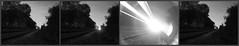 178/365: Trains that pass in the night (Kelvin P. Coleman) Tags: longexposure light sky bw blancoynegro night train canon vanishingpoint track glare noiretblanc outdoor railway powershot line trail flare joyce series 365 schwarzweiss leading burton burtonjoyce