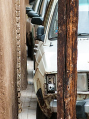 Cars in Old City of Yazd (p_h) Tags: broken car wall iran row mirrow yazd