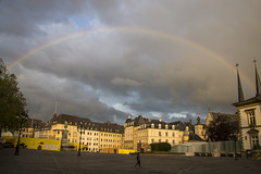 My last night in Luxembourg (herecomesanothersongaboutmexico) Tags: city storm rain rainbow luxembourg luxembourgcity placeguillaumeii europetrip2016