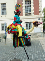 """Ostrich """"rider"""" at the Saturday marche in Rambouilletjpg (Monceau) Tags: france colorful saturday ostrich march stilts rambouillet"""