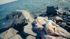 Blue Sun (clogz) Tags: blue sea summer sun beach helsinki rocks body emma shore blonde swimsuit uutela fondi