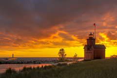 Holland on the south side....   Explore (Kevin Povenz) Tags: 2016 june kevinpovenz westmichigan ottawa ottawacounty michigan holland hollandstatepark lighthouse sunset evening dusk night clouds lakemichigan channel pier canon7dmarkii red yellow sky sun dune beach grass