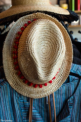 Hat and blouse (Thad Zajdowicz) Tags: clothing fashion summer woman hat straw blouse color zajdowicz pasadena california availablelight canon eos 5dmarkiii dslr digital lightroom indoor inside primelens 50mm concept
