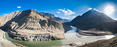 The confluence (kaustubh.nerurkar) Tags: ngc travel leh india serene landscape river clouds mountains wanderlust nikon sun light