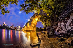Stone Arch Bridge via fisheye lens (Sue.Ann) Tags: reflection minnesota river mississippi downtown minneapolis mississippiriver riverfront downtownminneapolis stonearchbridge