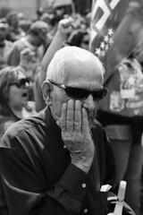 Hidden in the crowd (escael) Tags: madrid blackandwhite bw blancoynegro calle gente protest streetphotography bn personas desfile demostration monocromático protestas 1demayo
