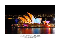 Sydney Opera House in bright patterns of orange and blue Vivid Sydney (sugarbellaleah) Tags: city travel pink blue roof urban orange colour building tourism public water beautiful architecture modern night reflections evening amazing aqua pretty pattern bright sydney australia event entertainment nsw leisure nightlife recreation publicity sydneyharbour sydneyoperahouse vividsydney