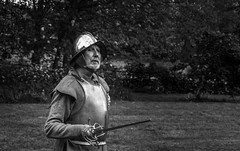 The Overseer (Daniel C P M) Tags: old trees bw white man black green grass leaves metal silver beard point leaf fight ancient nikon medieval clothes weapon figure sword knight rapier sleeves undergrowth overseer d7100 nikond7100
