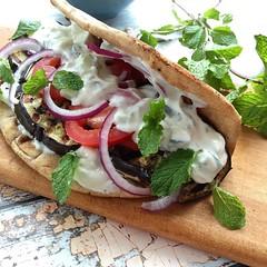 Grilled Eggplant Gyros with Fresh Tzatziki (Jackie Newgent RDN, CDN) Tags: recipe greek healthy eggplant mint vegetarian grilled pita gyro tzatziki meatless jackienewgent tasteoversbyjackie