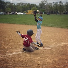 (Ryan Dickey) Tags: spring baseball luke safe evanston firstbase shouldntbesliding