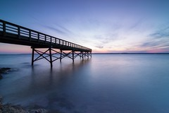 Sunset at Lighthouse Point Park (Al Kulla Photos) Tags: ocean new sunset sun haven nature beautiful canon landscape photography pier al long exposure angle photos wide parks ct tokina kulla