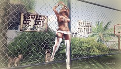 BEWARE ... of the dog, or more of that Blondie ;) (BijankRau | [ photograp'r model.]) Tags: white sexy classic dogs fashion model shoes photographer bc boots blondes mini hottie kc swimsuit couture poses belleza maitreya slink lilbug bc|couture