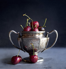 (donna leitch) Tags: stilllife fruit silver cherries dish tabletop donnaleitch